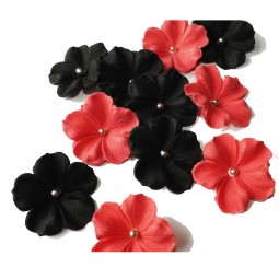 Black, hot pink flowers with silver balls