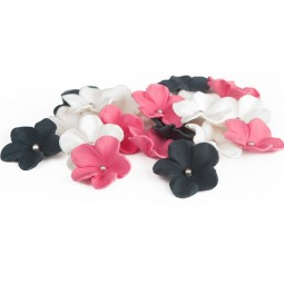 Black, hot pink and white flowers with silver balls