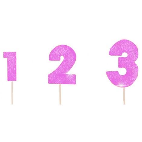 Alyvinės spalvos blizgantis skaičius su vielute