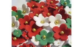 Baltos, raudonos, žalios spalvos gėlytės su auksiniais viduriukais