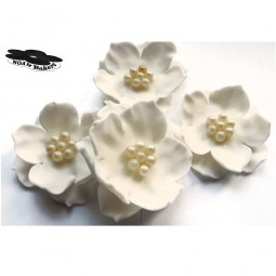 Elegant white flowers with pearl balls