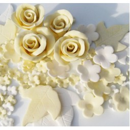 Ivory, white flowers set with roses