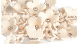 Ivory flowers, butterflies with silver balls