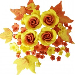 Yellow, orange flowers set with roses