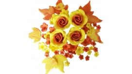 Geltonos, oranžinės spalvos gėlių rinkinys su rožėmis
