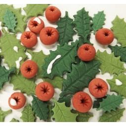 Kalėdinis rinkinys tortų ir keksiukų puošimui su uogomis ir bugienio lapeliais