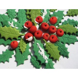 Christmas set with berries and leaves