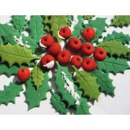 Kalėdinis rinkinys su uogomis ir lapeliais