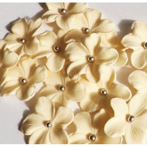 Kreminės gėlės su sidabriniais viduriukais