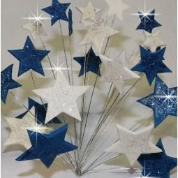 Mėlynos, baltos blizgančios žvaigždės su vielutėmis