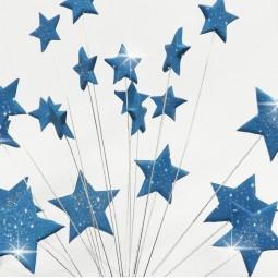 Mėlynos blizgančios žvaigždės su vielutėmis