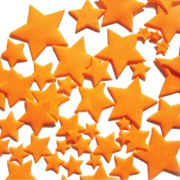 Oranžinės spalvos skirtingo dydžio žvaigždės