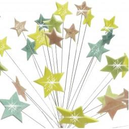 Pastelinių spalvų blizgančios žvaigždės su vielutėmis