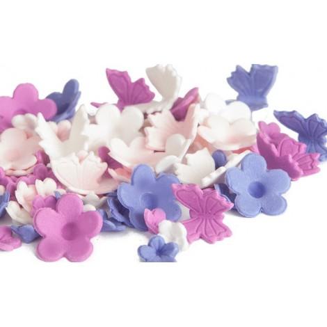 Plush Purple 4 spalvų gėlytės su drugeliais