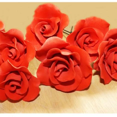 Raudona rožė su vielute