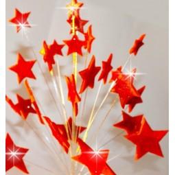Raudonos blizgančios žvaigždės su vielutėmis