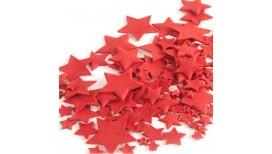 Raudonos spalvos skirtingo dydžio žvaigždės