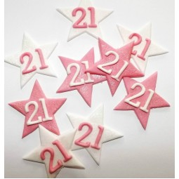 Pink, white glittering stars with numbers