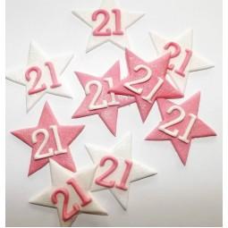 Rožinės, baltos blizgančios žvaigždės su skaičiais
