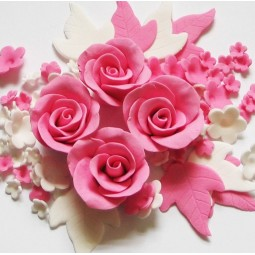 Pink, white flowers set with roses