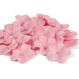 Rožinės gėlės su sidabriniais viduriukais