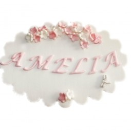 Pink colour edible plaque with name