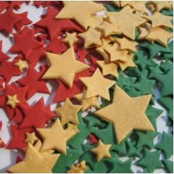 Rubino (Raudonos), žalios ir blizgančios auksinės spalvos skirtingo dydžio žvaigždės