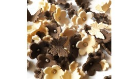 Brown, cream blossoms with butterflies