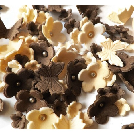 Sugar balls/Dragees - Brown, cream blossoms with butterflies