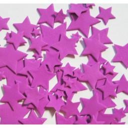 Ryškiai alyvinės spalvos skirtingo dydžio žvaigždės