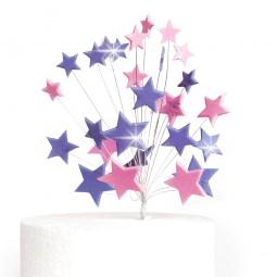 Wired plush purple, pink glittering stars