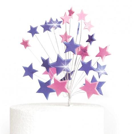 Ryškiai violetinės, rožinės blizgančios žvaigždės su vielutėmis