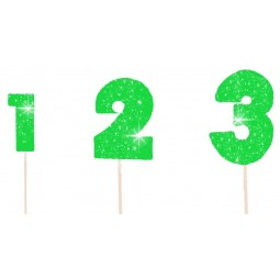 Wired green colour glittering number