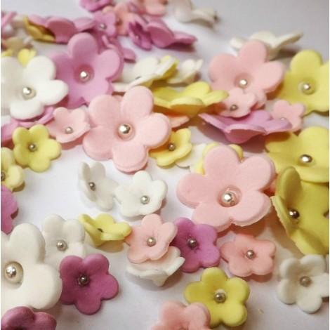 Šviesiai rožinės, alyvinės, baltos ir šviesiai geltonos gėlytės su sidabriniais viduriukais