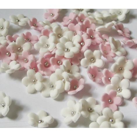 Šviesiai rožinės, baltos spalvos gėlytės su sidabriniais viduriukais