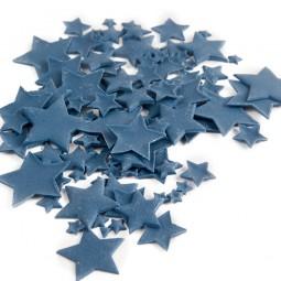 Tamsiai mėlynos spalvos skirtingo dydžio žvaigždės