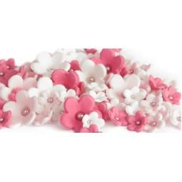 Tamsiai rožinės, baltos, šviesiai rožinės gėlytės su sidabriniais viduriukais