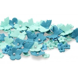 Tiffany blue, water colour  blossoms and butterflies