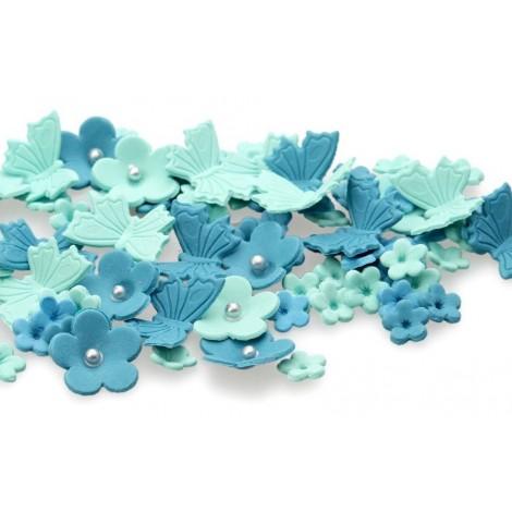 Tiffany blue, water spalvos gėlytės su drugeliais