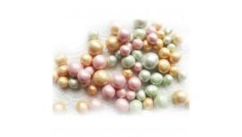 Vintažinio stiliaus auksinės, žalios ir rožinės spalvos cukriniai rutuliukai