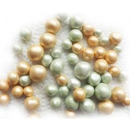 Vintažinio stiliaus auksinės, žalios spalvos cukriniai rutuliukai