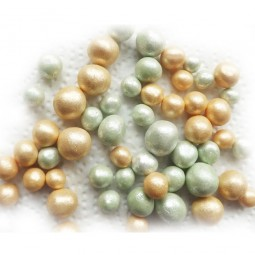 Vintage style gold, green sugar balls