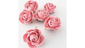 Vintažinio stiliaus rožinės rožės 6 vnt