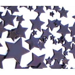 Violetinės spalvos skirtingo dydžio žvaigždės