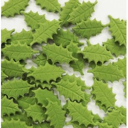 Green holly leaves