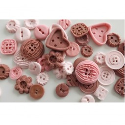 Pink, light pink, brown buttons