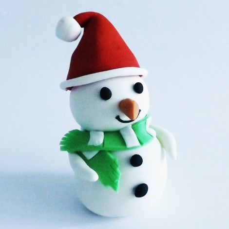 Kalėdinis torto ir keksiukų papuošimas Sniego senis