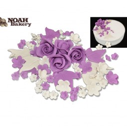 Lilac, ivory flowers set with roses