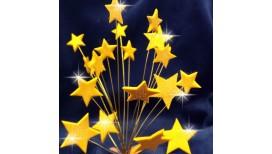 Auksinės blizgančios žvaigždės su vielutėmis