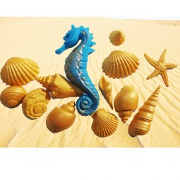 Gold Sea Shells and blue seahorse